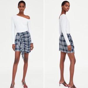 ZARA Blue & White Plaid Frill Skirt